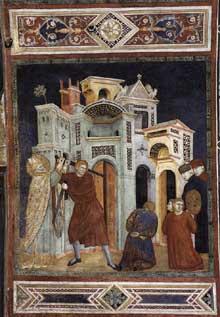 Palmerino di Guido: Saint Nicolas sauve trois innocents de la décapitation. Fresque. Assise, église inférieure Saint François, Chapelle Saint Nicolas