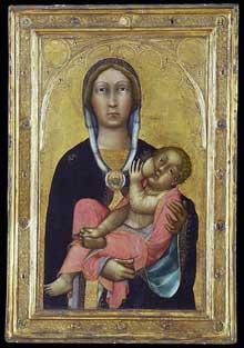 Paolo di Giovanni Fei: madone et enfant allaitant. Vers 1370. Tempera sur bois,  68.6 x 42.9 cm. New York, Metropolitan Museu