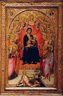 Paolo di Giovanni Fei: Vierge et enfant entourée de Saints. Vers 1390. Tempera sur bois. New York, Metropolitan Museu