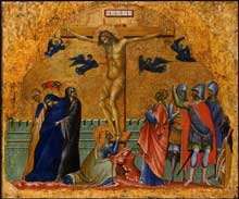 Paolo Veneziano : Crucifixion. Vers 1340. Tempera sur panneau de bois, 31,8 x 37,5 cm. Washington, National Gallery of Art
