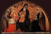 Paolo Veneziano: Le Doge Francesco Dandolo et son épouse présentés à la Madone. 1339. Panneau de bois. Venise, Santa Maria Gloriosa dei Frari