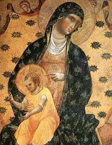 Paolo Veneziano: Le Doge Francesco Dandolo et son épouse présentés à la Madone, détail. 1339. Panneau de bois. Venise, Santa Maria Gloriosa dei Frari