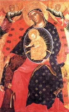 Paolo Veneziano: Madone et enfant avec deux donateurs. Vers 1325. Tempera sur panneau de bois, 142 x 90 cm. Venise, Gallerie dell'Accademia
