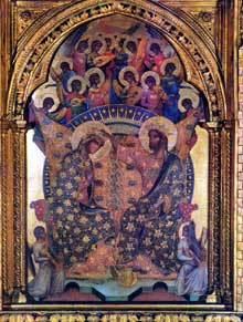 Paolo Veneziano: Polyptyque de Santa Chiara: détail: le couronnement de la Vierge. Vers 1350. Tempera sur panneau de bois, 167 x 285 cm. Venise, Gallerie dell'Accademia