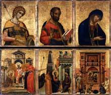 Paolo Veneziano: Retable de Saint Marc, panneau de gauche. 1345. Venise, Basilique saint Marc