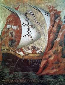 Paolo Veneziano: Retable de Saint Marc, scène de la vie de Saint Marc. 1345. Tempera sur bois, 58 x 42 cm. Venise, basilique Saint Marc