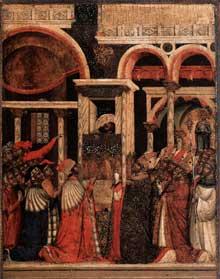 Paolo Veneziano: Retable de Saint Marc, découverte des reliques de Saint Marc. 1345. Venise, basilique Saint Marc