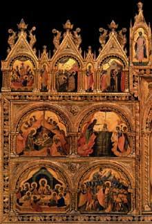 Paolo Veneziano: Polyptyque de Santa Chiara, panneau de gauche. Vers 1350. Tempera sur panneau de bois, 167 x 285 cm. Venise, Gallerie dell'Accademia