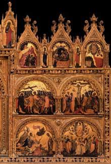 Paolo Veneziano: Polyptyque de Santa Chiara, panneau de droite. Vers 1350. Tempera sur panneau de bois, 167 x 285 cm. Venise, Gallerie dell'Accademia