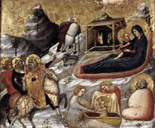 Pietro da Rimini: La nativité et autres scènes de l'enfance du Christ. Vers 1330. Tempera sur panneau de bois, 17 x 20 cm. Pedralbes, Fundación Colección Thyssen-Bornemisza