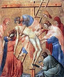 Pietro da Rimini: Déposition de la croix. 1330s. bois, 43 x 35 cm.Paris, Musée du Louvre