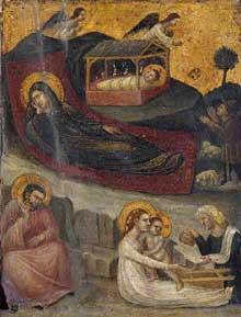 Pietro da Rimini: La nativité. 1325-1530. Tempera sur panneau de bois, 20 x 16 cm. Collection privée