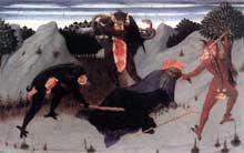Sassetta: La tentation de saint Antoine. 1423. Panneau de la prédelle du polyptyque de la corporation des Lainiers. 24 x 39 cm. Sienne, Pinacothèque Nationale