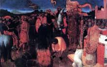 Sassetta: mort d'un hérétique sur le bûcher. 1423. Panneau de la prédelle du polyptyque de la corporation des Lainiers. 24,6 x 38,7 cm. Melbourne, National Gallery of Victoria