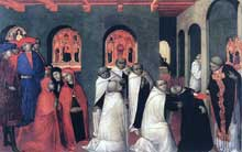 Sassetta: le miracle de l'eucharistie. Panneau de la prédelle du polyptyque de la corporation des Lainiers. 24 x 38 cm. Barnard Castle, Bowes Museum