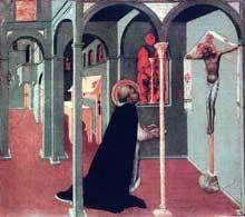 Sassetta: Saint Thomas en prière devant la croix. Panneau de la prédelle du polyptyque de la corporation des Lainiers. 25 x 28,8 cm. Vatican, pinacothèque