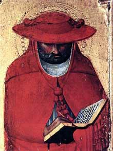 Sassetta: Saint Jérôme, détail. 1423. Panneau. Sienne, Pinacothèque Nationale. Ce panneau figure l'un des huit personnages sur les piliers extérieur du retable de l'Eucharistie