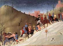 Sassetta: la journée des Mages. Vers 1435. Tempera et or sur bois, 21,6 x 29,9 cm. New York, Metropolitan Museum of Art