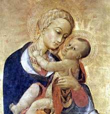 Sassetta: Vierge à l'enfant et quatre saints, détail: la vierge. Vers 1435. Tempera sur bois, 132 x 52 cm. Cortone, Musée Diocésain