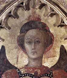 Sassetta: Vierge à l'enfant et quatre saints, détail: la tête de saint Michel. Vers 1435. Tempera sur bois, 132 x 52 cm. Cortone, Musée Diocésain