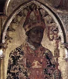 Sassetta: Vierge à l'enfant et quatre saints, détail: la tête de saint Nicolas. Vers 1435. Tempera sur bois, 132 x 52 cm. Cortone, Musée Diocésain
