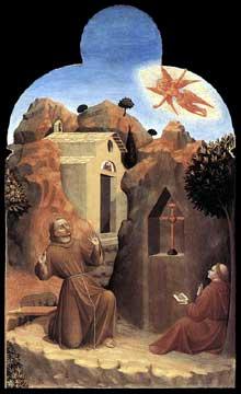 Sassetta: la stigmatisation de saint François. Retable de Borgo san Sepolcro, panneau de la face arrière. 1437-1444. Tempera à l'oeuf sur peuplier, 88 x 52 cm. Londres, National Gallery
