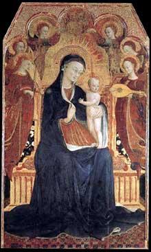 Sassetta: Vierge et enfant entourée de six anges. Retable de Borgo san Sepolcro. 1437-1444. Tempera à l'oeuf sur bois, 205 x 119,5 cm. Paris, Musée du Louvre. Ce panneau est le panneau central de la face avant du retable de San Francesco à Borgo San Sepolcro
