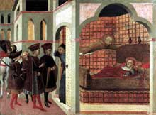 Sassetta: apparition en rève du bienheureux Ranieri Rasini à un cardinal romain. 1437-1444. Tempera à l'oeuf sur bois, 44 x 60 cm. Berlin, Staatliche Museen