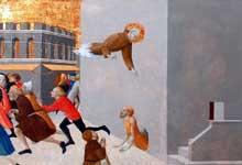 Sassetta: le bienheureux Ranieri délivre les pauvres d'une prison de Florence. 1437-1444. Tempera à l'oeuf sur bois, 63 cm x 43 cm. Paris, musée du Louvre. Cet élément de la prédelle postérieure du retable de San Francesco à Borgo San Sepolcro représente le bienheureux Ranieri délivrant les quatre-vingt-dix pauvres gens, retenus dans une prison de Florence et qui avaient sollicité son aide
