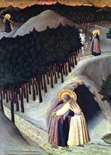 Sassetta: la rencontre entre saint Antoine et saint Paul. Vers 1440. Bois. Washington, National Gallery of Art