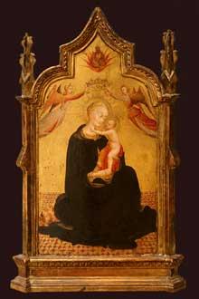 Sassetta:Vierge et l'Enfant entourés d'anges. Entre 1445 et 1450. Tempera sur bois, Feuille d'or. New York, Metropolitan Museum of Art