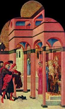 Sassetta: saint François renie son père terreste. Panneau de la face arrière du retable de Borgo san Sepolcro. 1437-1444. Tempera à l'oeuf sur peuplier, 88 x 53 cm. Londres, National Gallery