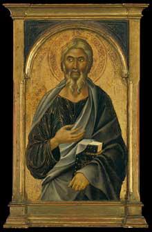 Segna di Buonaventura: Saint Jean l'Evangéliste. Partie d'un polyptyque. Vers 1320. Bois, 88,9 x 55,9 cm. New York, Metropolitan Museum of Art