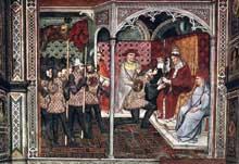 Spinello Aretino: Le pape AlexandreIII reçoit un ambassadeur. 1407. Fresque. Sienne, Palazzo Publico