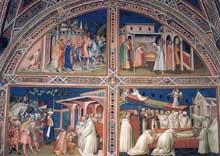 Spinello Aretino: Histoires de la légende de saint Benoît. 1387. Fresque. Florence, San Miniato al Monte
