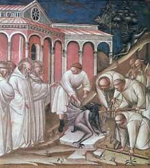 Spinello Aretino: Histoires de la légende de saint Benoît. 1387. Fresque. Florence, San Miniato al Monte. La scène représente un exorcisme de saint Benoît
