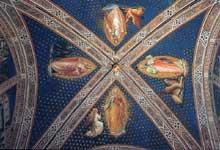 Spinello Aretino: Les quatre Evangelistes. 1387. Fresque. Florence, San Miniato al Monte. La fresque de la voûte de la sacristie représente les quatre évangélistes