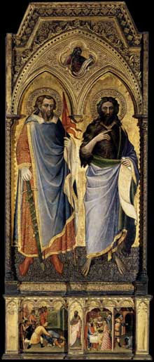 Spinello Aretino: Saint Nemesius et Saint Jean Baptiste. 1385. Tempera sur panneau de bois, 194 x 95 cm. Budapest, Musée des Beaux Arts