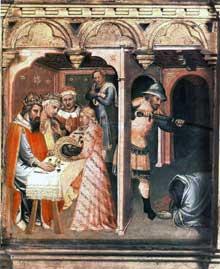 Spinello Aretino: Le festin d'Hérode détail du panneau de Saint Nemesius et Saint Jean Baptiste. 1385. Tempera sur panneau de bois, 35 x 34,3 cm. Budapest, Musée des Beaux Arts