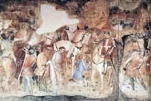 Spinello Aretino: Saint Michel donne la bannière à saint Ephèse. 1391-1392. Fresque. Pise, Campo Santo