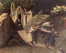 Starnina: La Thébaide. Vers 1410. Tempera sur bois, 80 x 216 cm. Florence, les Offices