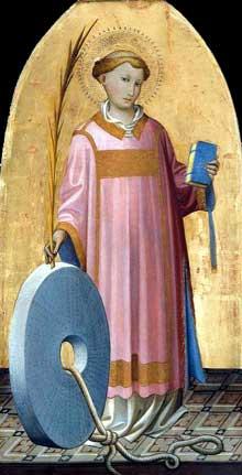 Starnina: Saint Vincent. Vers 1410. Tempera sur panneau de bois, 67 x 35 cm. Boston, Museum of Fine Arts. Ce panneau bien préservé représente Saint-Vincent; il fait partie d'un grand retable aujourd'hui démembré