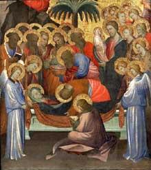 Starnina: La Dormition de la vierge. Vers 1404-1408. Panneau de bois peint. Philadelphia Museum of Art