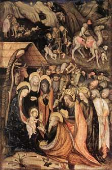 Stefano da Zevio (V. 1375-1451): L'adoration des Mages. 1435 Tempera sur panneau, 72 x 47cm. Milan Pinacoèque Brera