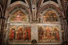 Taddeo di Bartolo: Allegories et figures de l'histoire romaine. 1413-1414. Fresque, 270 x 320 cm. (chaque lunette). Sienne, Palazzo Publico