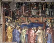 Taddeo di Bartolo: Les funérailles de la Vierge. 1409. Fresque, 320 x 345 cm. Sienne, Palazzo Publico