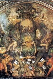 Taddeo di Bartolo: Lucifer. Détail de la fresque du Jugement dernier à la collégiale de San Gimignano