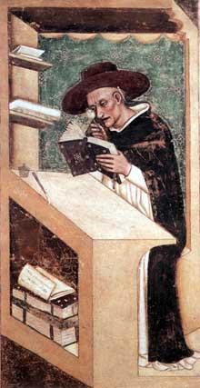 Tommaso da Modena: Le cardinal Nicolas de Rouen. 1351-1352. Fresque. Trévise, chapitre de San Niccolò