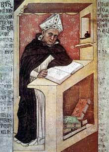 Tommaso da Modena: Saint Albert le Grand. 1352. Fresque. Trévise, chapitre de San Niccolò. La scène montre Albert le Grand, le maître de saint Thomas d'Aquin à son étude