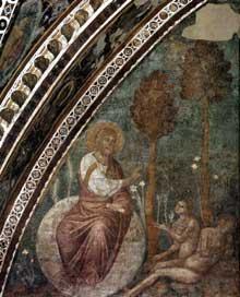 Jacopo Torriti: La création d'Eve. 1290s. Fresque. Assise église supérieure Saint François